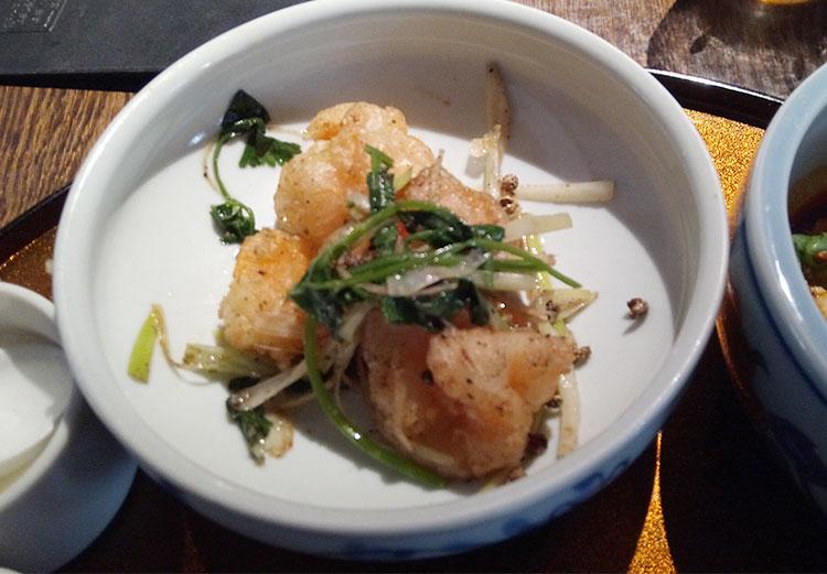小海老のフリット 香味野菜山椒塩炒め