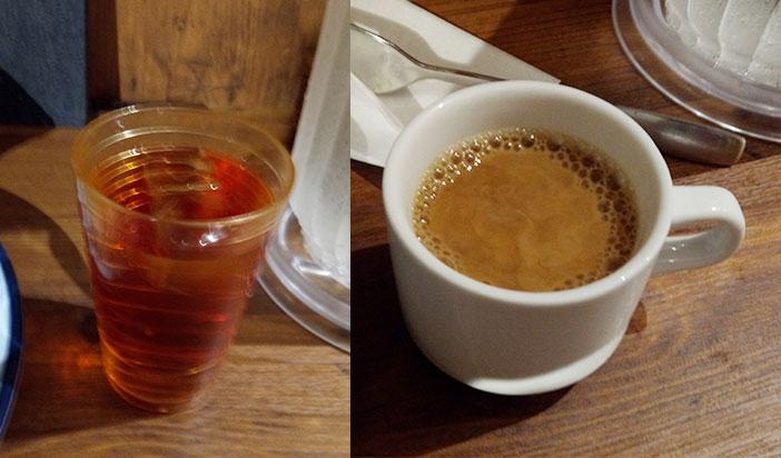 「ホットコーヒー」「ルイボスティー」