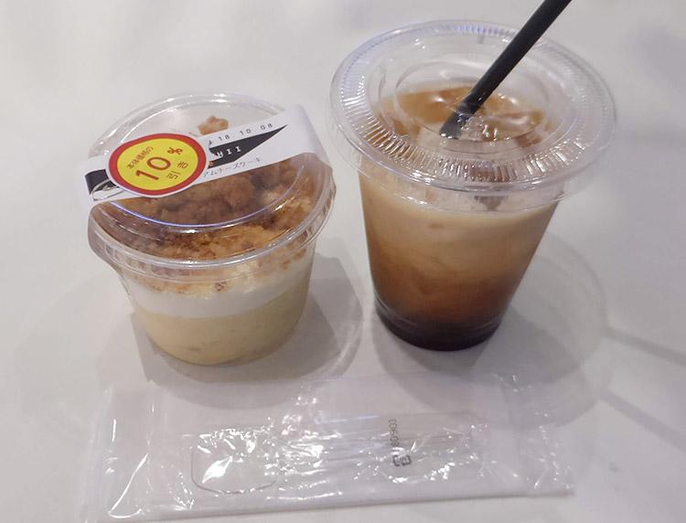 「アイスコーヒー(139円)」と「チーズケーキ(431円)」