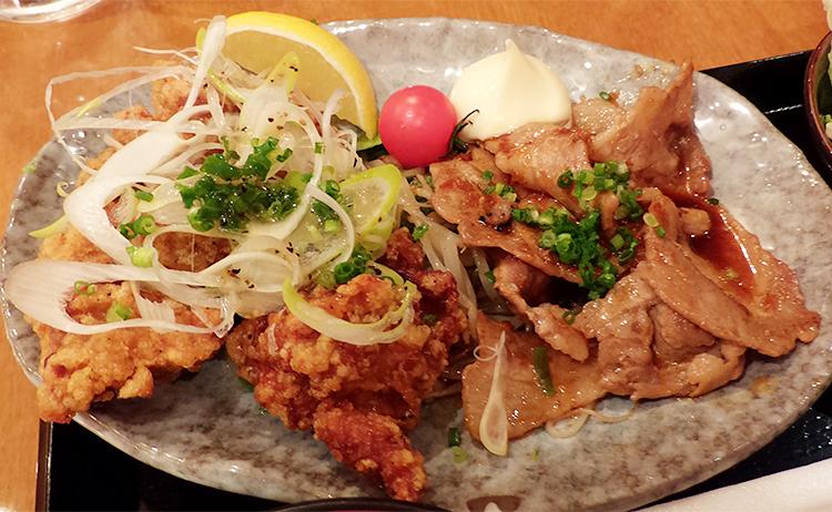 唐揚げ3コ & 豚ロースの生姜焼き3枚