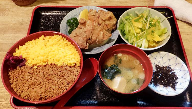 そぼろ丼定食[唐揚げ2ヶ付](1,000円)