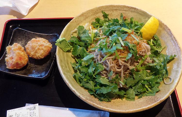 「生パクチーそば(780円)・大盛り(120円)」と「トマト天ぷら(200円)」