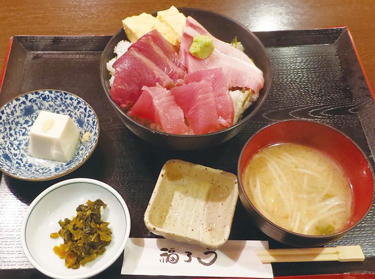 本日のお刺身の三色丼定食(1,000円)
