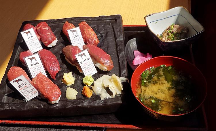 桜肉の握りずし 盛り合わせ 5種10貫(1,500円)