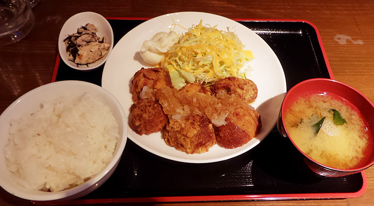 唐揚げおろしポン酢定食(750円)