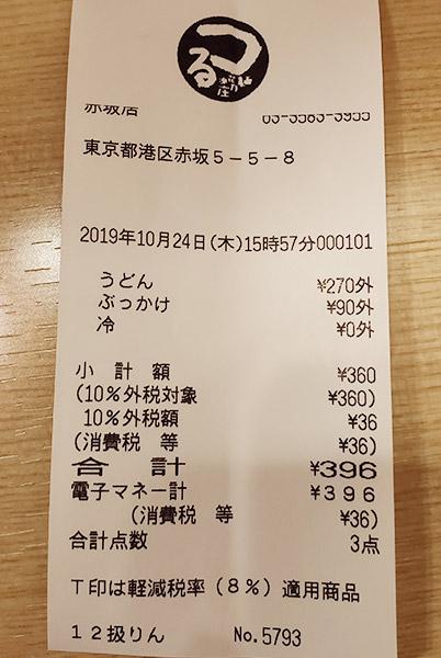 「つるまる饂飩 赤坂店」で「ぶっかけうどん[冷](396円)」